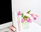Portrait Styled Stock Photography | Flatlay Image | Spring Tulips and Desk Accessories 6 | Styled Photography | Digital Image