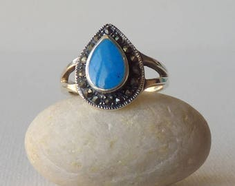 Sterling Silver Turquoise Ring Vintage Genuine Blue Turquoise Marcasite Teardrop Turquoise Size 7 Ring Turquoise 925 Jewelry Retro Turquoise