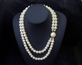 Vintage  Black Rhino Design Hand Made Two Strand Necklace Large Ivory Colour Baroque Faux Pearls Dimpled Matching Round Closure Gold Tone