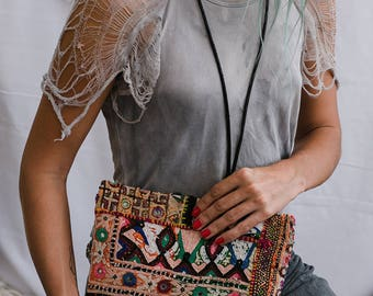 Ethnic Wallet- Womens Clutch Purse Boho Chic Bohemian Tribal Embroidery Hippie Gypsy Unique Gift For Her
