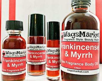 Frankincense and Myrrh Oil, Roll On Bottle 1/3oz - 1oz, Glass Bottle.