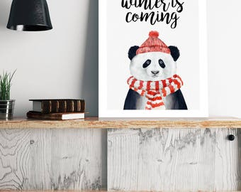 Poster | Illustrated Poster | Wall Decor | Bear Poster | Animal Poster | Winter is coming | Home Decor | Poster Design | Postcard  | Panda