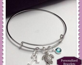 Turtle bangle bracelet, turtle bangle charm bracelet, silver bangle bracelet, birthstone bangle bracelet, sea turtle bracelet, sea bangles