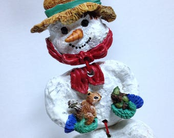 Vintage Snowman Christmas Tree Ornament, 3-D Articulating Snowman Ornament with Forest Animals, Frosty the Snowman
