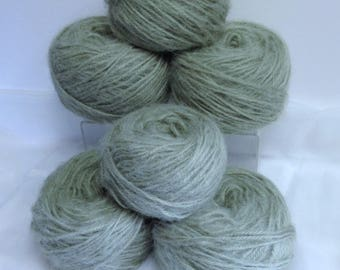 Chunky Yarn Bundle Silver Moss Green Mohair Blend Soft Vintage Yarn for Fiber Art Projects or Knitting & Crocheting Accessories or Gifts