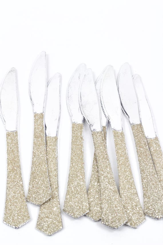 Silver Plastic Knife, White Gold Glitter Silverware Champagne Utensils Disposable Party Silverware Decorative Tableware Table Settings