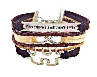 Autism Awareness Bracelet, Inspirational Quote Bracelet, Autism Jewelry, Puzzle Piece Bracelet, Aspergers Bracelet, Aspergers Jewelry