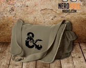 D&D Ampersand Canvas Messenger Bag - Cotton Canvas Bag - Dungeons and Dragons Inspired Bag - Custom Bags Available