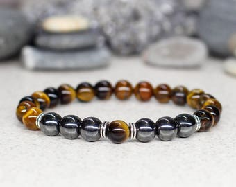 Tiger eye bracelet Men bracelet Gemstone bracelet Energy bracelet Reiki Healing bracelet Men gift-for-boyfriend Protection Animal celestial