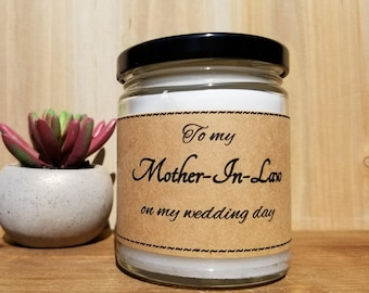 Mother of the Groom Gift - Wedding Day Gift from Bride to Mother-in-law - 8 Ounce Wedding Candle Gift - Free Shipping