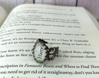 Harry Potter Harry Filigree Ring / Harry Potter Book Page Ring / Adjustable  / Muggle, Witch, or Wizard Gift