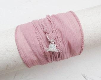 Wrap bracelet, silk wrap bracelet, lotus bracelet, yoga bracelet