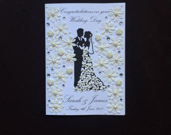 Handmade Personalised Wedding Card Engagement Wedding Acceptance Beautiful Detailed Card Husband Wife Parents Friends