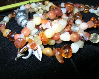 Necklace  Amber Stones Glass Cold Water Creek in Box 16 Inches Long, Wear or Jewelry Supply
