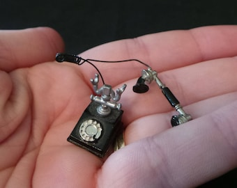 Vintage Dollhouse Miniature Japan Rotary Dial Black And Silver Telephone