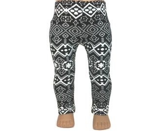 """18 Inch Doll Leggings - Black & White Tribal Aztec Print - Doll Clothes made for 18"""" American Girl Dolls"""