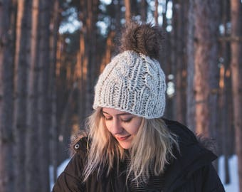 Cable Knit Hat with Faux Fur Pom Pom Winter Beanie | IRVING HAT