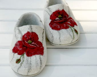 Felted slippers for women Handmade shoes Wool home shoes  Eco slippers Wife gift Gift for Mother Sister Gift for Grandmother.