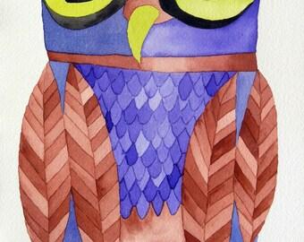 Whimsical art, owl art, original art, watercolor painting, whimsical bird art, nursery art, kids room art, modern nursery art, owl painting