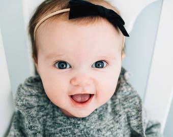 NOIR VINTAGE VELVET Skinny Hand-tied Bow (Headband or Clip)- velvet bow headband; velvet bow; newborn headband; baby headband; toddler bow