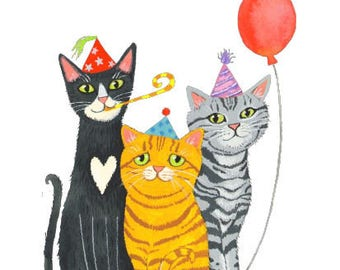 "Birthday Card: ""Party Cats"". By Laura Robertson"