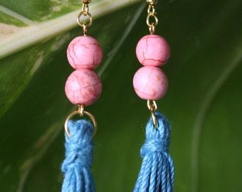 Pink Howlite Beads Tassel Earrings, Easter Earrings, Mother's Day Gift, Nylon Cotton Tassel,