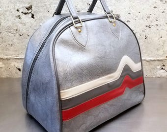 1980's Vintage Brunswick Don Carter Bowling Bag/Gray Bag w Gray Handles w/Tricolor Heartbeat Stripes of Cream, Gray & Red/Metal Ball Rack