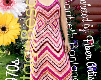 INSTANT DOWNlOAD • PdF Pattern • Maxi Dress CROCHET Pattern 1970s CHEVRON Maxi Crochet Pattern ZigZag Dress 50s Crochet Pattern Free Gift