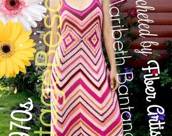 INSTANT DOWNlOAD - PdF Pattern - Maxi Dress CROCHET Pattern 1970s CHEVRON Maxi Crochet Pattern ZigZag Dress 50s Crochet Pattern Free Gift