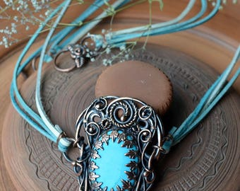 Turquoise pendant, statement pendant, wire wrapped pendant, wire weave, wire wrap, oriental jewelry, turquoise necklace, exclusive  jewelry