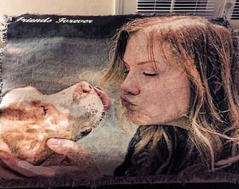 60 x 80 Custom Dog Blanket, Dog Lover Gift, Cat Lover Gift, Cat Blanket, Pet Gift,  Pet Memorial Gift, Dog Bedding, Cat Bedding, Pet Bedding