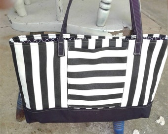 Black and White Stripe Tote, 18 wide x 11 tall, Tote Bag, Office Tote, Bag, Purse, Pocketbook, Stripe Purse, Stripe Tote Bag, Stripe Bag