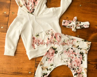 Baby Floral joggers set, baby hoodie, baby white floral outfit headband, Baby sweatshirt,baby leggings, size NB-24month,