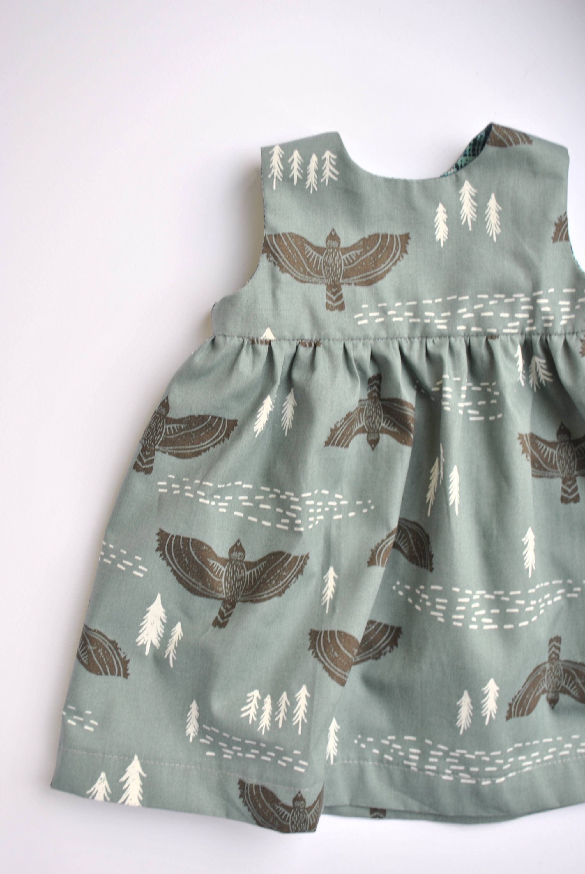 Baby Dress in Hawk Flight Print Tribal Bird Print Dress for Baby