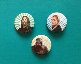 Aragorn / Legolas / Gimli Lord of the Rings Pinback Buttons
