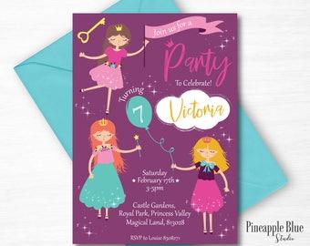 Girls Princess Party Invitation   Princess Party Invite   Princess Birthday Party   Fairytale Party   Girls Birthday Party   Party Invite