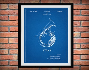 1930 Sousaphone Patent Print - Tuba - Musical Instrument - Brass Instrument - Orchestra Art Print - Marching Band Art - Jazz Band Gift
