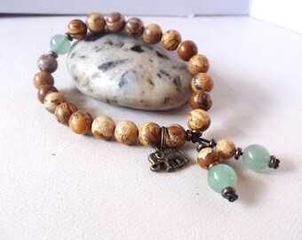 Ganesh mala bracelet. Healing energy bracelet for mind, body, spirit. Healing crystal positive energy for balance.
