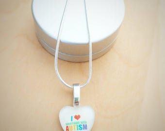 CLEARANCE! Autism heart glass necklace tattoos by heart of exceptional hand painted