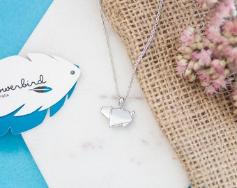 Pig Origami Sterling Silver Short Necklace