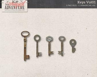 Keys, Steampunk, Commercial Use OK, Digital Download, Antique Vintage Keys, Attic Treasures, Flea Market Digital Scrapbooking Embellishments