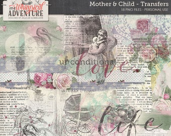 Mother, baby, child, digital scrapbooking embellishments, digital download transfers, paint, overlays, vintage, dictionary, mixed media