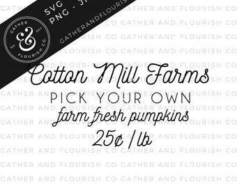 Pumpkin Farm Fall Sign SVG, Farm Fresh Pumpkins Sign, Pick Your Own Pumpkins Sign, SVG Files, Farmhouse Sign Stencils