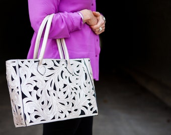 Hummingbird Silver Floral Tote Bag, 100% Leather, PERSONALIZE YOURS!, Free Shipping!