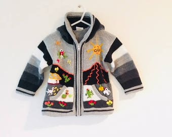 Vintage Alpaca Peruvian Toddler Jacket / Embroidered Funky Zip Up Cardigan Kid's Child Unisex Boy Girl Size 2T 24 Months