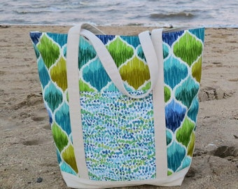 Large Canvas Tote // Large Beach Bag // Pool Tote - Ready to Ship & FREE SHIPPING!