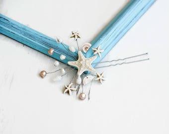 Beach wedding hair accessory Starfish Clip Bridal hair pin Wedding hair pin Nautical jewelry hair Mermaid hair clip Natural Knobby Starfish