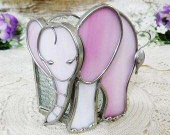 Candle Holder/Candleholder/Leaded Stained Glass Votive Candle Holder/Pink Elephant/80's Decor/Vintage