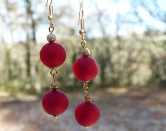Long earrings vermilion red Murano glass and diamond beads