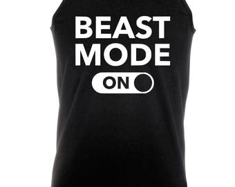 Beast Mode ON -  Bodybuilding Motivation Black Men's Clothing Workout Vest TOP MMA